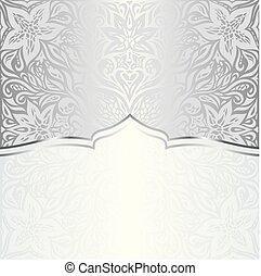 moda, spazio, vendemmia, carta da parati, mandala, disegno floreale, motivi dello sfondo, trendy, copia, baluginante, argento