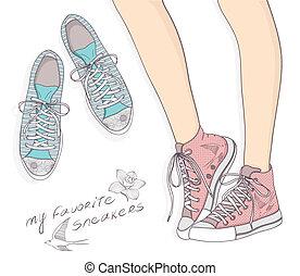 moda, sprot, illustrazione, scarpe