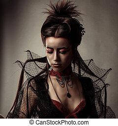 moda, stile gotico, modello, ragazza, ritratto
