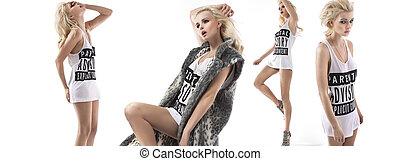 moda, stile, multiplo, foto, di, uno, ragazza