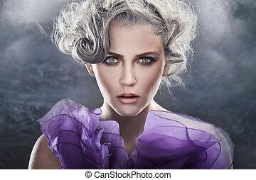 moda, stile, ritratto, di, uno, giovane signora, sopra, fantasia, fondo