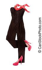 moda, strapless, composición, jumpsuit