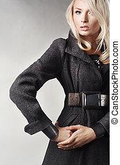 moda, styl, fotografia, od, niejaki, piękny, blondynka