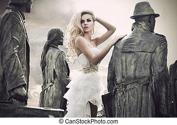 moda, tiro, de, um, mulher jovem