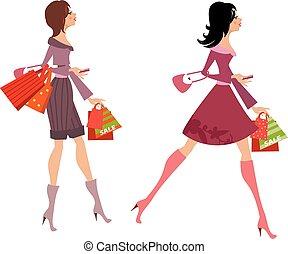 moda, tuo, acquisto, ragazze, disegno