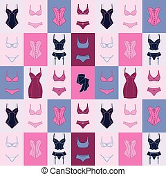 moda, underwear., patrón, seamless, lenceria, hembra