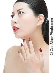 moda, unghia, labbra, donna, asiatico, polacco, sensuale, rosso