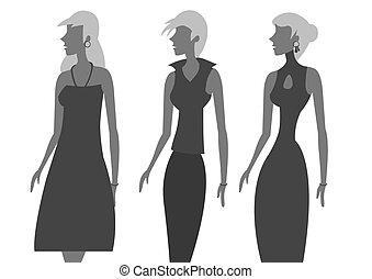 moda, vector, ilustración, vestido sin mangas, damas