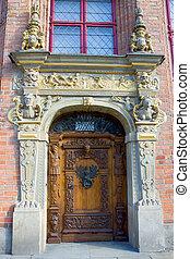 moda velha, porta, com, decorado, portal