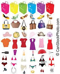 moda, vendita, elementi
