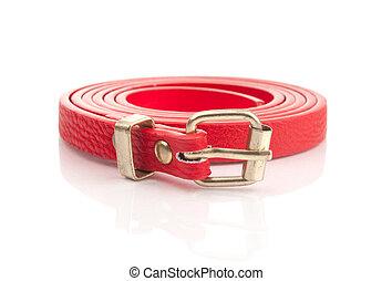 moda, vermelho, cinto