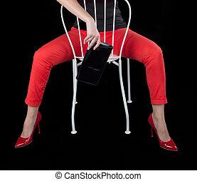 moda, vestido, excitado, menina, sentando, ligado, chair.