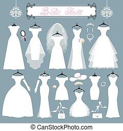 moda, vestidos, set., boda, plano, accesorios, silueta