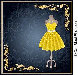 moda, vestire, con, punti polca, in, stile retro, su, dummy.