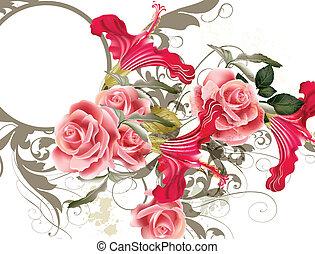 moda, vetorial, padrão, com, flor