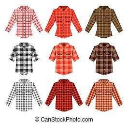 moda, viejo, camisa, leñador, patrones, cheque