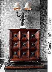 moda, viejo, de madera, marca, gabinete, nuevo