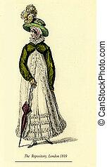 moda, vindima, desenho, 1819, londres, penas, senhora, chapéu