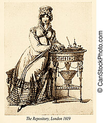 moda, vindima, desenho, , 1819, tampa para motor, coberta, londres, senhora