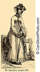 moda, vindima, desenho, 1820, parasol, londres, senhora, chapéu