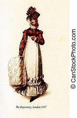 moda, vindima, desenho, muff, 1817, londres, senhora, chapéu