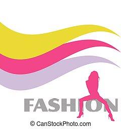 moda, y, sexy, rosa, niña, vector, silueta, ilustración