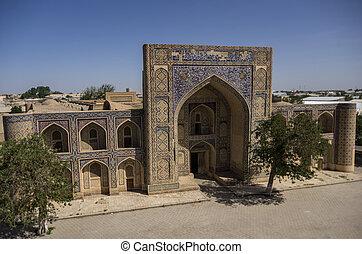 Modari-han Madrasah in Kosh-Madrasah complex. Bukhara,...
