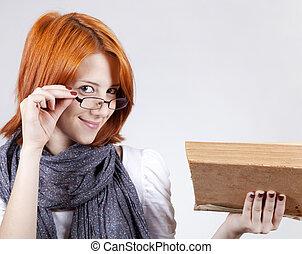 mode, âge, jeune, book., fille souriant, lunettes