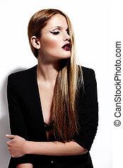 mode élevée, look.glamor, portrait, de, beau, sexy, élégant, caucasien, jeune femme, modèle, dans, noir, tissu, à, clair, maquillage