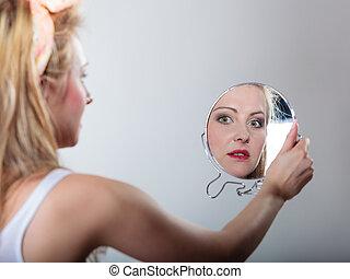 mode, épinglez, regarder, miroir, girl, blond