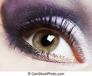 mode, øje kvinde, makeup.