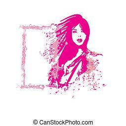 mode, abstrakt, illustration, woman., vektor