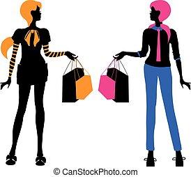 mode, achats, clair, isolé, silhouettes, vecteur, femmes