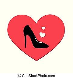 mode, amour, femmes, élevé, chaussure noire, talon