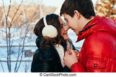 mode, amour, hiver, couple, jeune, extérieur, sensuelles,...
