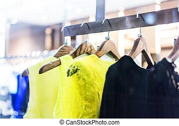 mode, ankleiden gestell, textanzeige