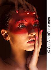 mode, art, concept., beauté, visage femme, à, rouges, peint, masque