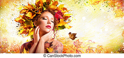 mode, art, dans, automne, -, artistique