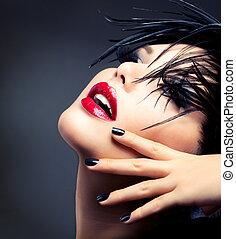 mode, art, girl, portrait., vif, maquillage