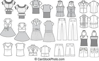 mode, artikel, schets