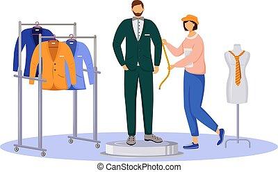 mode, assistant., illustration., plat, vêtant couleur, atelier, tailoring., blanc, concepteur, fond, caractère, individu, dessin animé, complet, créer, vecteur, obtient, homme, isolé, mesures