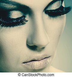 mode, beauté, conception, femme femelle, portrait, ton