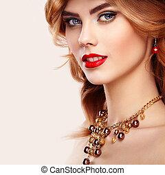 mode, beauté, roux, portrait, modèle, girl