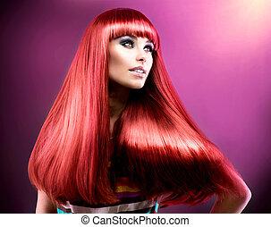 mode, beauté, sain, directement, long, hair., modèle, rouges