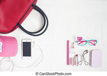 mode, beauté, sommet, cosmétique, articles, main, lunettes, aérien, rouges, smartphone, essentiel, sac, vue