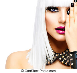 mode, beauty, girl., punker, stijl, vrouw, vrijstaand, op...