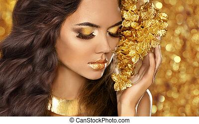 mode, beauty, meisje, portrait., eyes, makeup., gouden, jewelry., attra