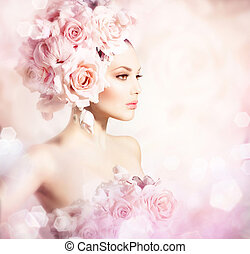 mode, beauty, model, meisje, met, bloemen, hair., bruid