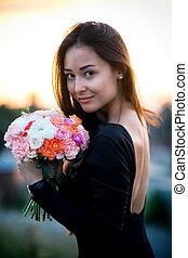 mode, beauty, model, meisje, met, bloemen