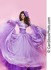 mode, beauty, photo., mooi, meisje, brunette, vrouw, vervelend, lang, chiffon, jurkje, op, pink.